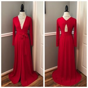 NEW HALSTON RED DEEP V PLUNGE FORMAL GOWN